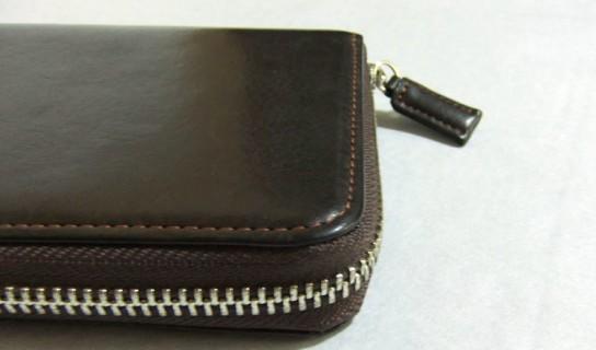 ハニーセル長財布の縫製ライン(横)