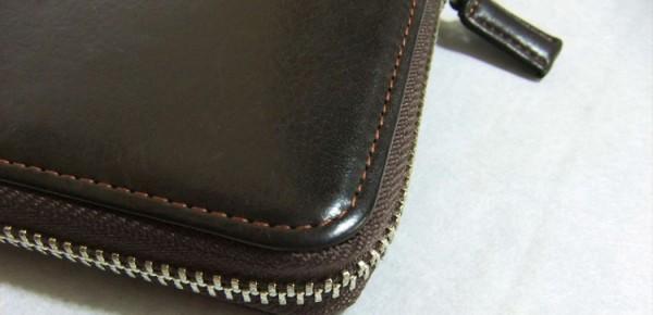 ハニーセル長財布の縫製ライン(コーナー部分)