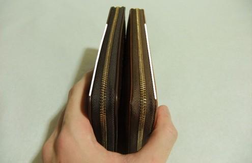 オーバーザウォレットとマットーネラージウォレットはコバ面の厚みが違う