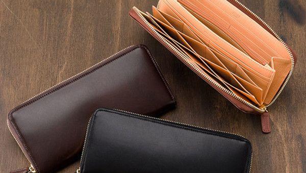 シラサギレザー・カードが沢山入るラウンドファスナー長財布メンズ