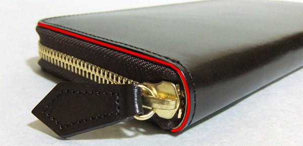 ラウンドファスナー長財布のコバ面